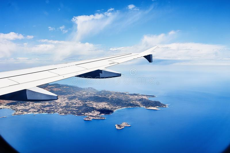 View from the window of an airplane on ibiza royalty free stock photo