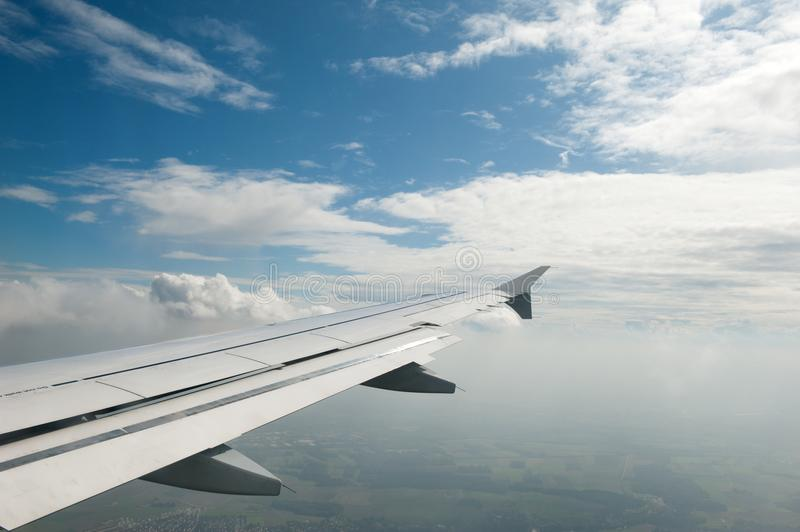 View through a window on airplane stock images