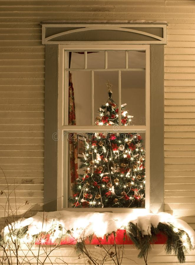 View through a window of christmas tree stock image