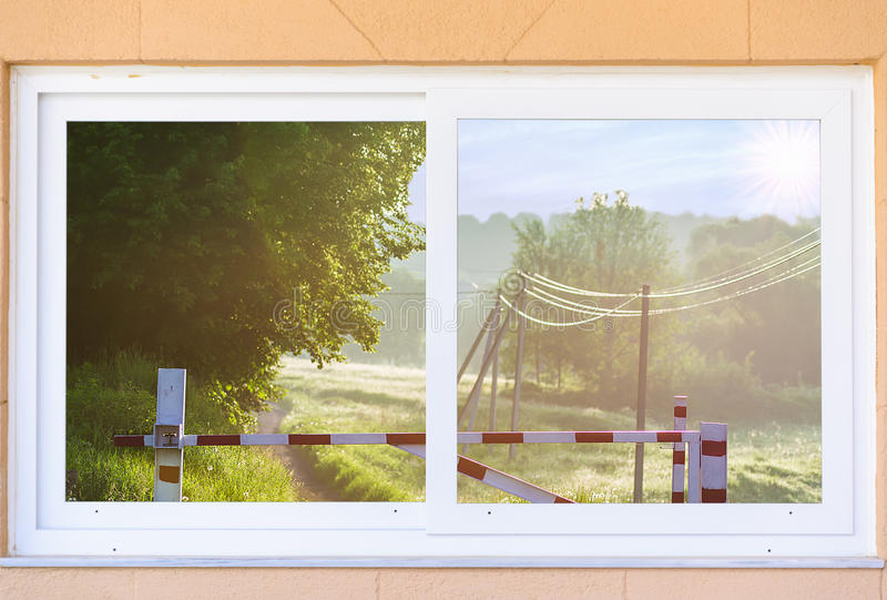 View From The Window On The Gate In The Early Morning Royalty Free Stock Image