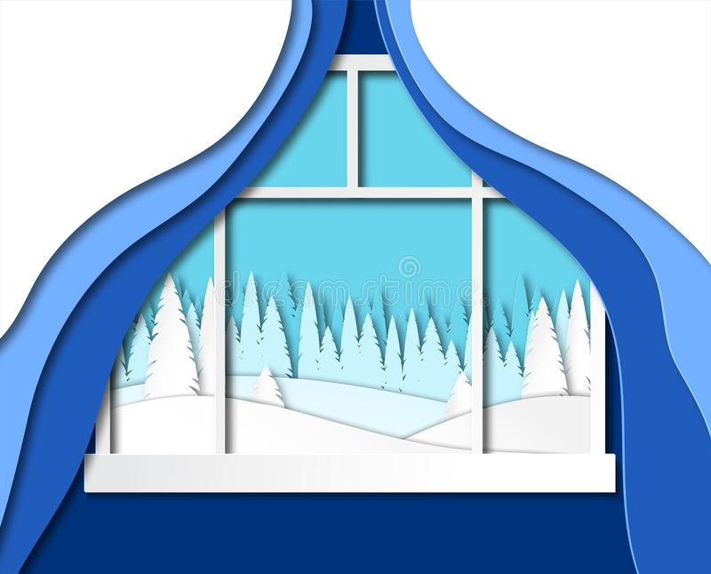 The view from the window of the house, the room on the winter landscape. Vector vector illustration