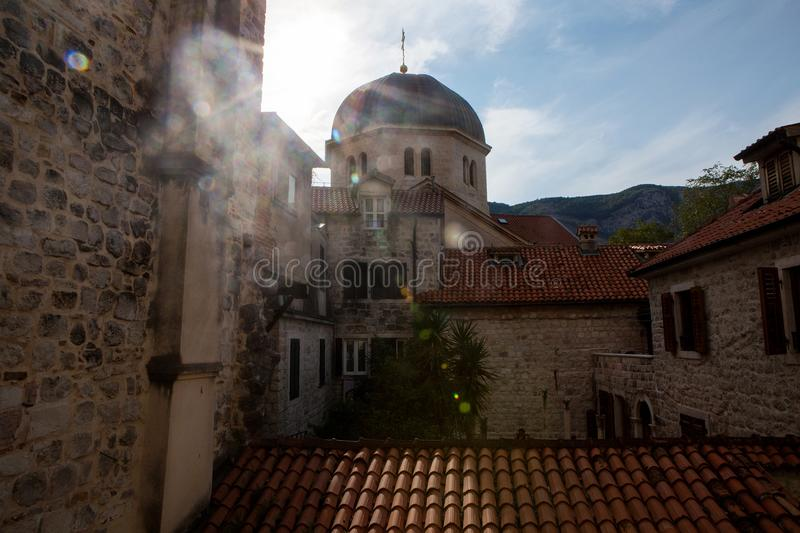 View from the window of the old town on the roof stock photography
