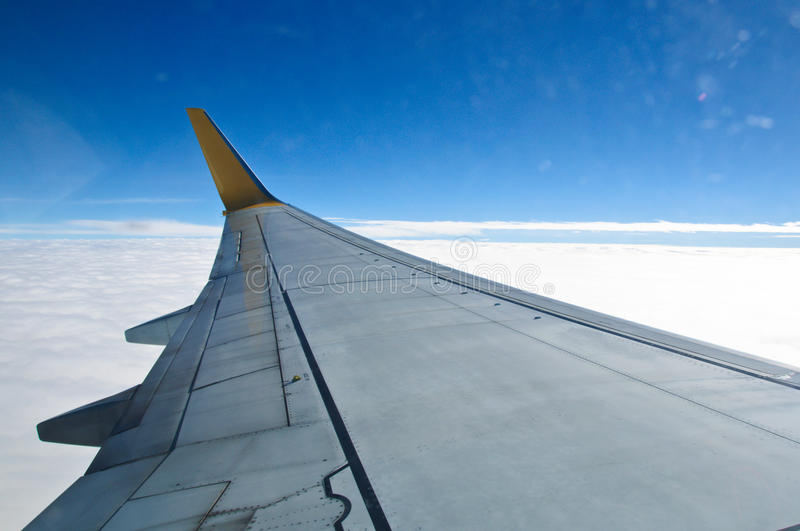 View from window seat of an airplane stock photography