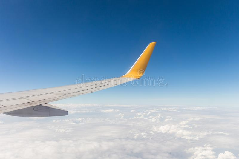 View from a window seat in cabin of the aircraft. royalty free stock photo