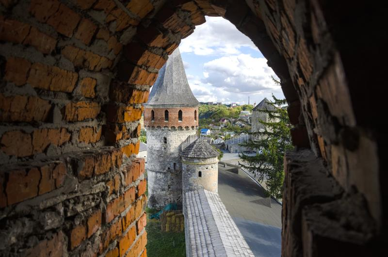The view from the window on the tower. Of the Kamyanets-Podilsky fortress stock photo
