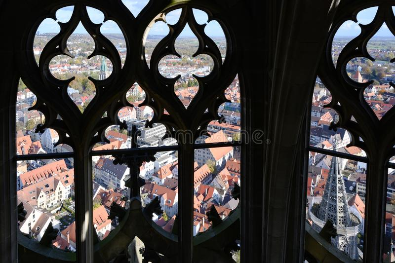 View from Tower of Ulm Minster, Ulm Cathedral, to City of Ulm, Baden-Wuerttemberg, Germany royalty free stock photo