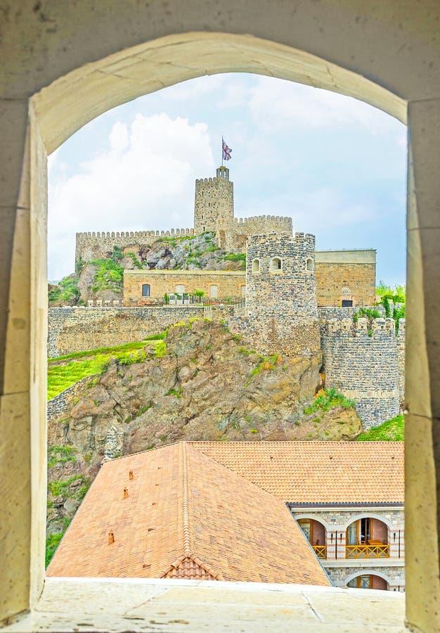 The view through the window. Of the watchtower on the Rabati Castle, Akhaltsikhe, Georgia stock photo