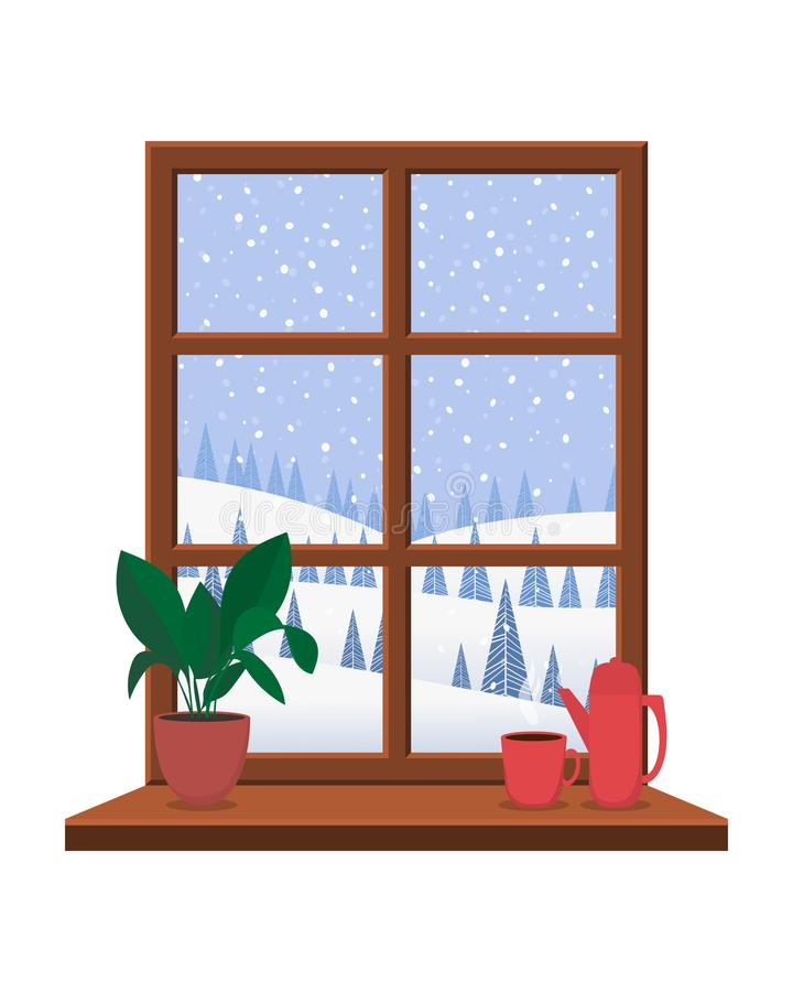 View from the window with a wooden frame on the winter landscape. stock illustration