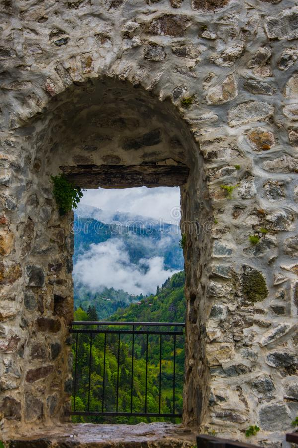 View through the window from the Zil castle. In city of Trabzon in Turkey royalty free stock photo