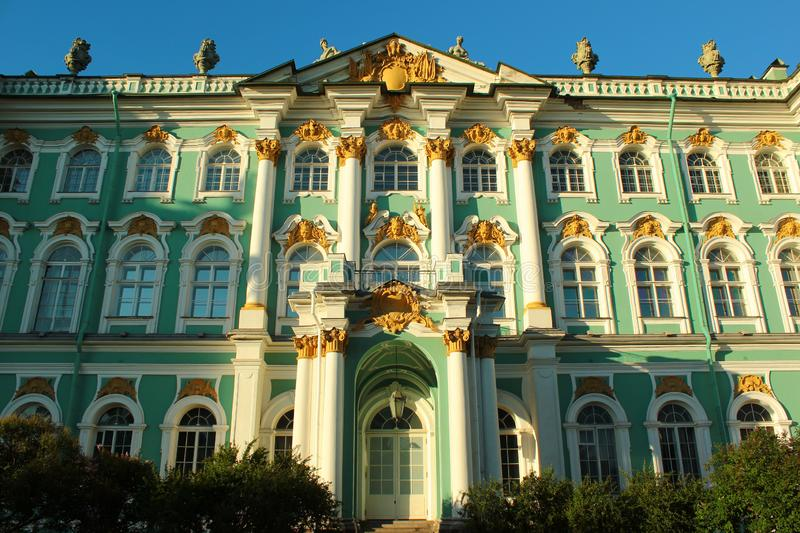 View of Winter Palace, now State Hermitage Museum in Saint Petersburg, Russia.  stock photos