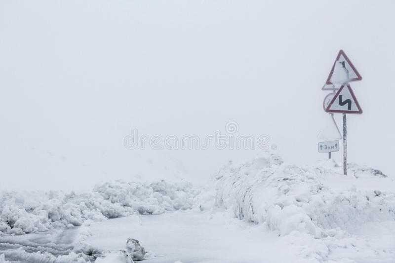 View on winter road during bad weather conditions royalty free stock photos