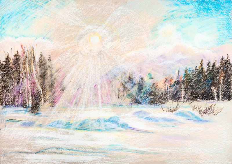 View on winter sun. Winter sun in forest and large snowdrift royalty free illustration