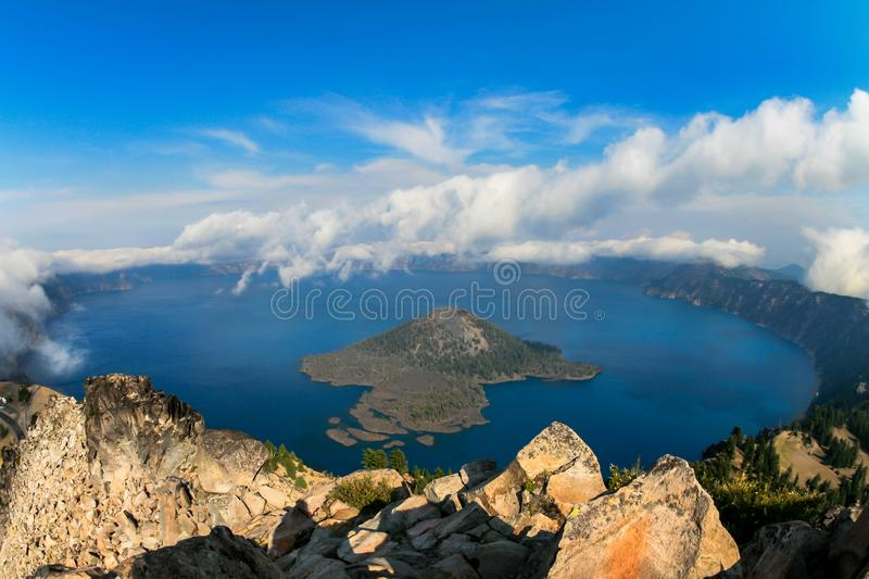 Wizard Island in crater lake. View of Wizard Island from Watchman Peak at Crater Lake National Park - Oregan royalty free stock photos