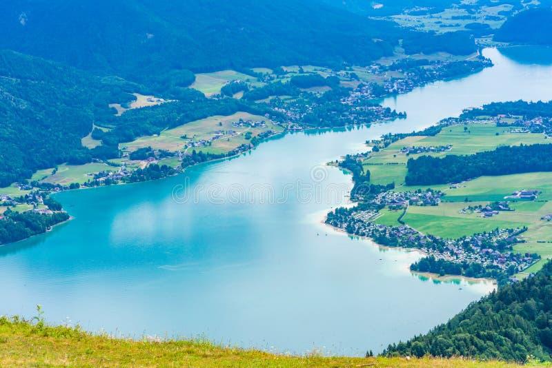 View of Wolfgangsee lake from Zwolferhorn mountain. In Salzkammergut region, Austria stock photos