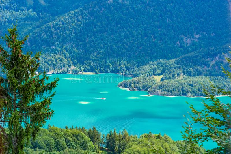 View of Wolfgangsee lake from Zwolferhorn mountain. In Salzkammergut region, Austria stock images