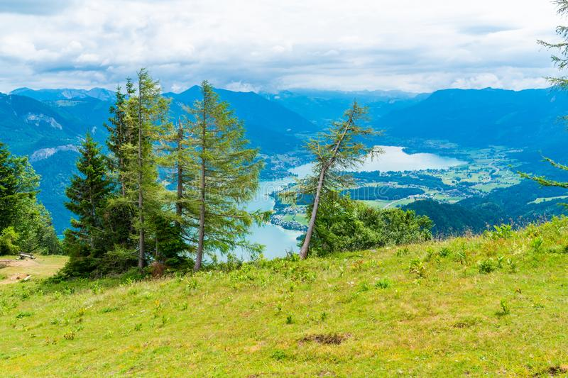 View of Wolfgangsee lake from Zwolferhorn mountain. View of Wolfgangsee lake and surrounding mountains from Zwolferhorn mountain in Salzkammergut region, Austria royalty free stock images