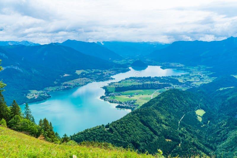 View of Wolfgangsee lake from Zwolferhorn mountain. View of Wolfgangsee lake and surrounding mountains from Zwolferhorn mountain in Salzkammergut region, Austria royalty free stock photos