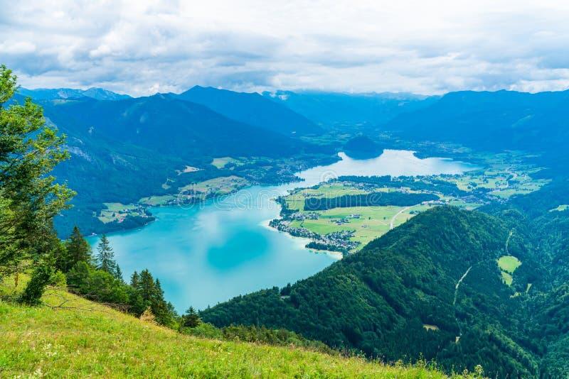 View of Wolfgangsee lake from Zwolferhorn mountain. View of Wolfgangsee lake and surrounding mountains from Zwolferhorn mountain in Salzkammergut region, Austria royalty free stock image
