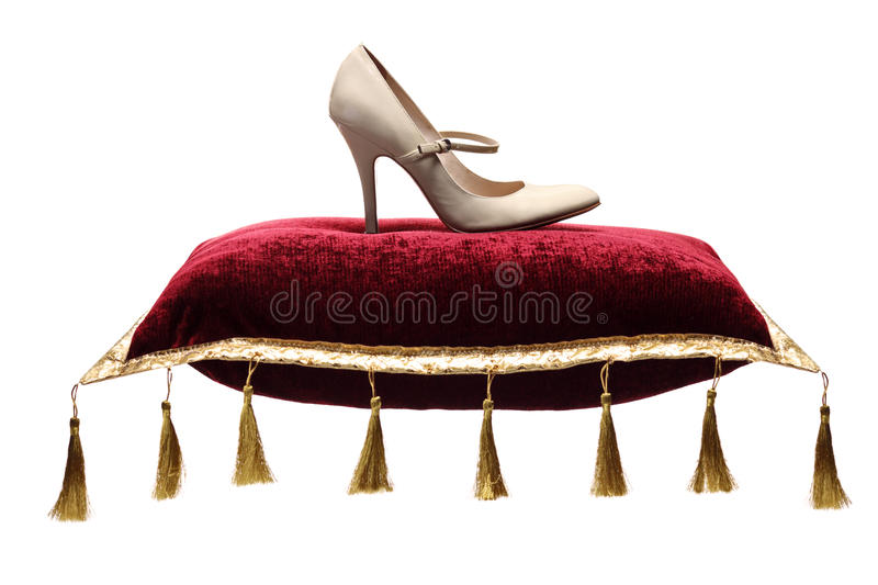 A View Of A Woman S Shoe On A Pillow Stock Image