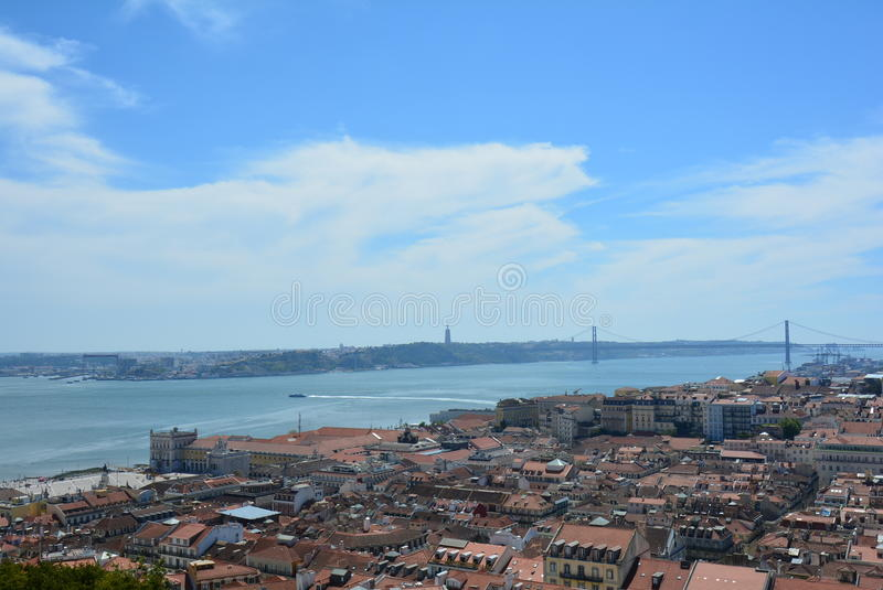 View of wonderful Tagus River and 25 april Bridge from Castle of St. George Lisabon - Portugal stock photography