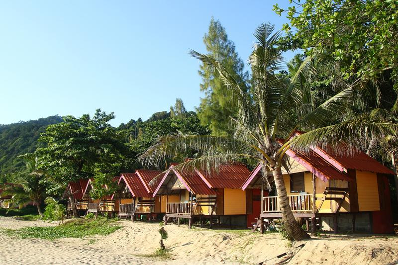 View on the wooden houses near to the sea between palm trees on a background of rainforest. royalty free stock image