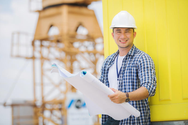 View of a Worker and architect watching some details on a construction royalty free stock photo