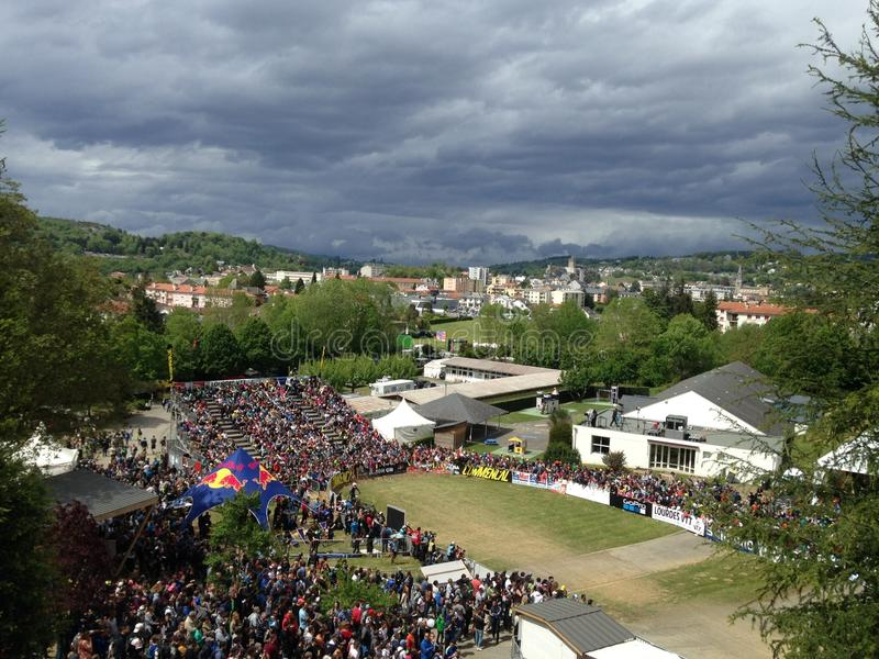 View of the world cup of mountain bike of descent has Lourdes royalty free stock photo