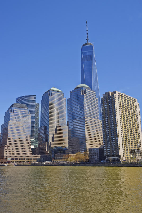 View on World Financial Center of Lower Manhattan. NEW YORK, USA - APRIL 25, 2015: View from Ferry on World Financial Center or Brookfield Place of Lower royalty free stock images
