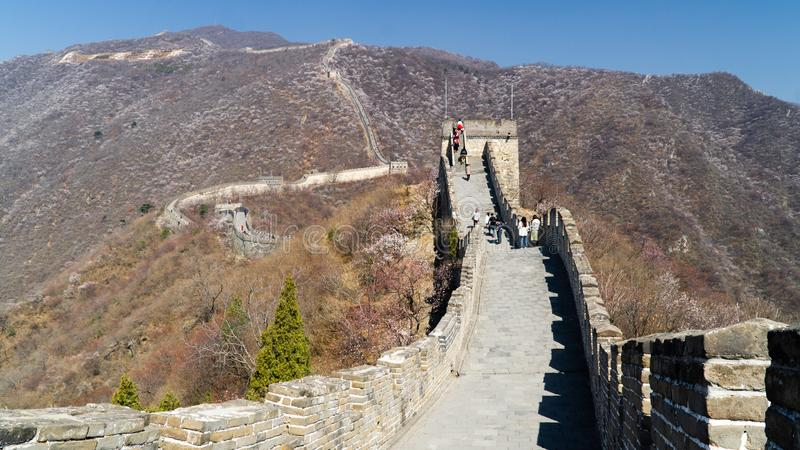 View of world heritage sight The Great Wall of China, section Mutianyu, reconstructed part, China stock photography