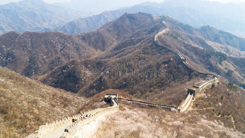 View of world heritage sight The Great Wall of China, section Mutianyu, reconstructed part, China stock photo
