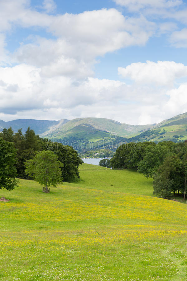 View from Wray Castle of Langdale Valley and mountains Lake District Cumbria uk. Country scene Langdale Valley and Fairfield Horse mountains from Wray Castle stock image