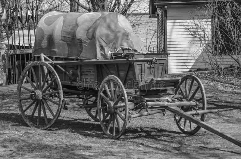 WWI German Ambulance Wagon. A view of a WWI German ambulance wagon in black and white royalty free stock images