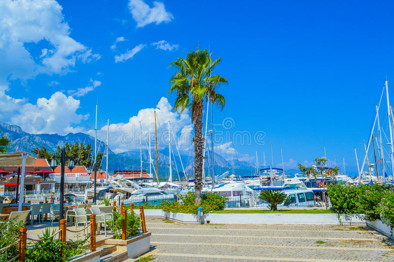 View of the yachts in the harbor of Kemer (Kemer Marina) royalty free stock image