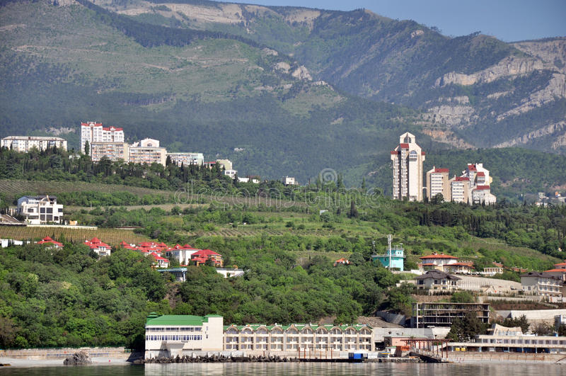 view of yalta houses hotels and motels near the sea coast black sea in ukraine the photo was taken the boat into the sea during royalty free stock photos