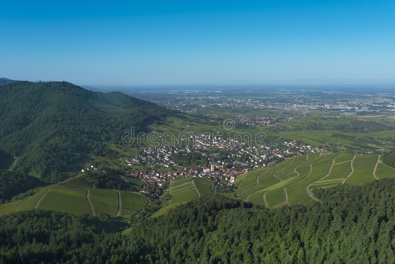 View from the Yburg to the Rhine valley_Baden Baden, Germany royalty free stock photography