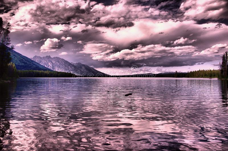 A view of Yellowstone Lake Yellowstone National Park. stock image
