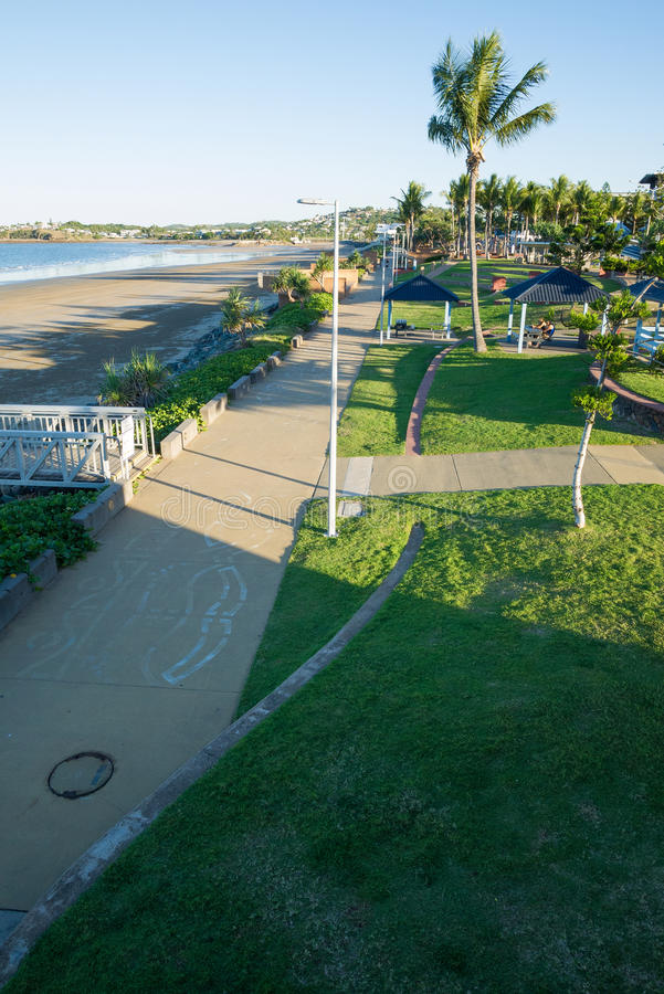 View of Yeppoon foreshore. An elevated view of Yeppoon and the local beach in Queensland, Australia on a sunny afternoon stock photos