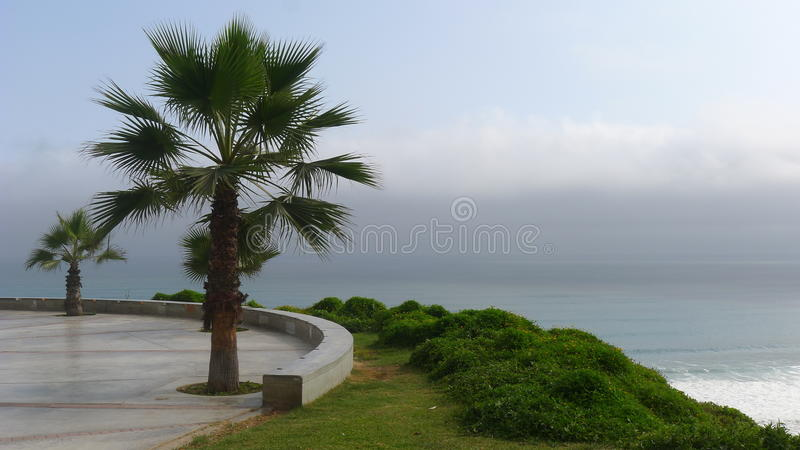 View from the Yitzhak Rabin park in Miraflores, Lima. Scenic view from the Yitzhak Rabin park in Miraflores district of Lima to the Pacific Ocean. A cliff is in royalty free stock images