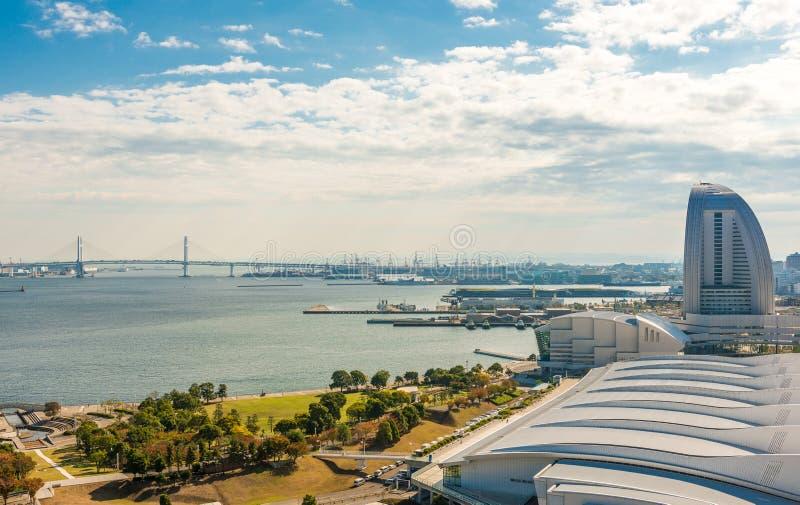 View of Yokohama bay. Bridge and Yokohama sea port royalty free stock photography