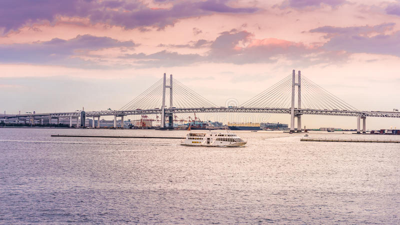 View of Yokohama bay. Bridge and Yokohama sea port stock image