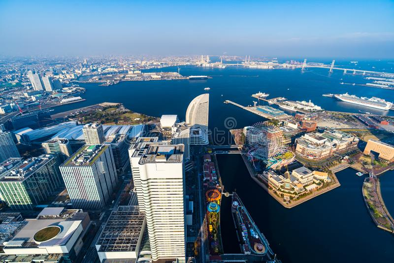 View of Yokohama Cityscape at Minato Mirai waterfront district, view from Yokohama Landmark Tower, Japan royalty free stock photo