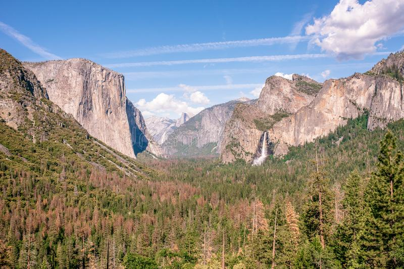 View of Yosemite Valley from Tunnel View point - view to Bridal veil falls, El Capitan and Half Dome - Yosemite National Park in stock image