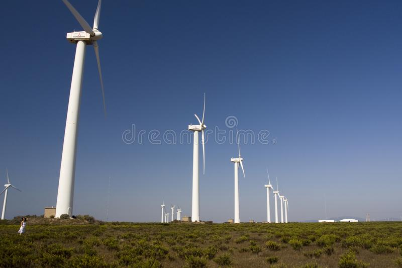 Girl and the windmills. View of a young girl watching a field of windmills stock images