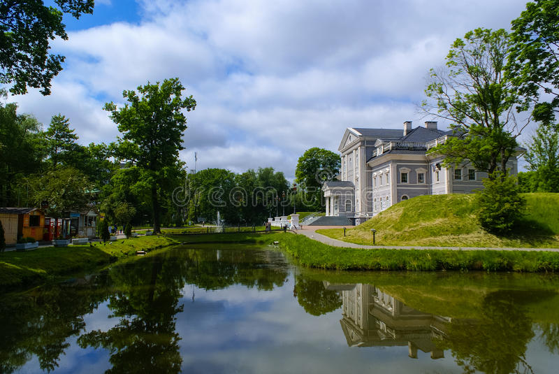 View of the Youth Recreation Park. Food stalls and modern house at the Youth Recreation Park in Kaliningrad, Russia royalty free stock image