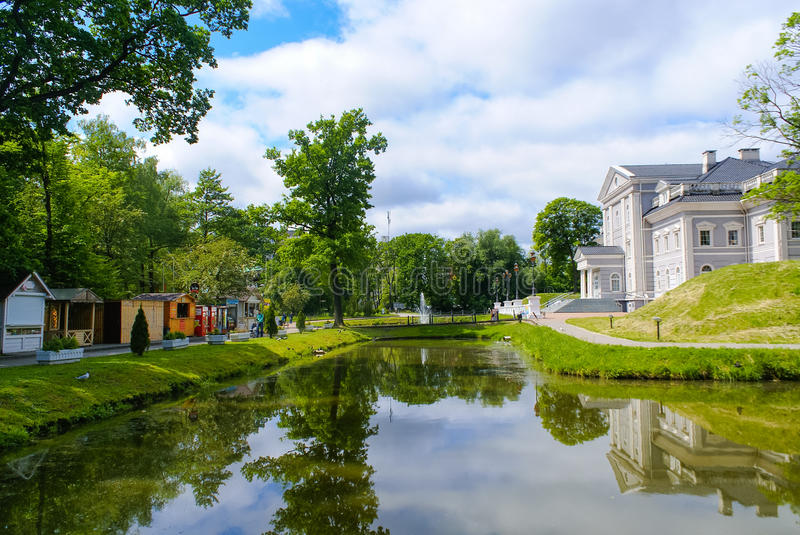View of the Youth Recreation Park. Food stalls and modern house at the Youth Recreation Park in Kaliningrad, Russia stock image