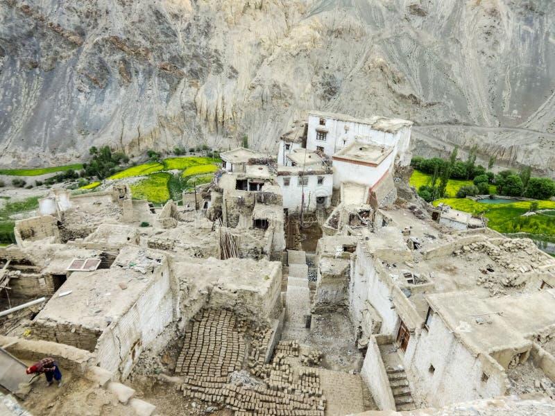 The view from the Yuru Monastery down to Lamayuru royalty free stock photo