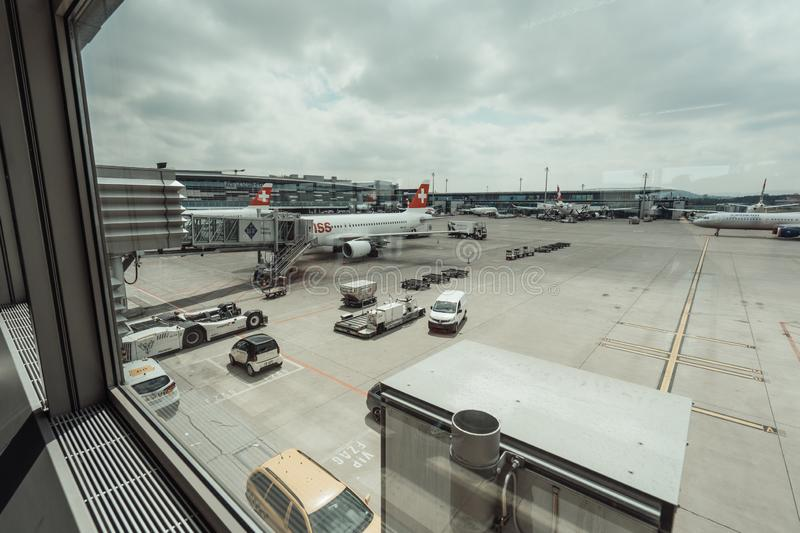 View of Zürich airport. View of airport Zurich while waiting at the gates for boarding the airplane stock photo