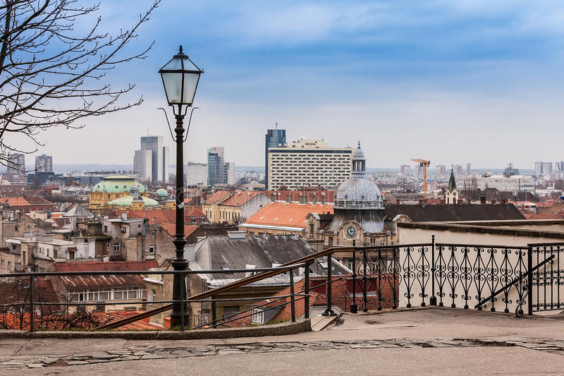 View at Zagreb center from the Upper Town, with view at Westin Hotel. royalty free stock photos