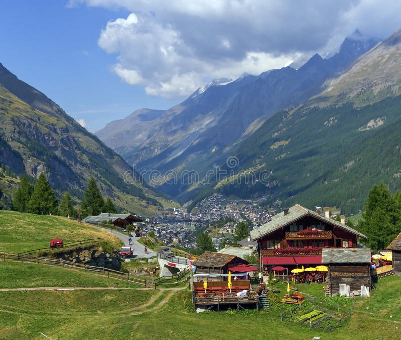 View on Zermatt village. View on chalets and Zermatt village by day stock photos