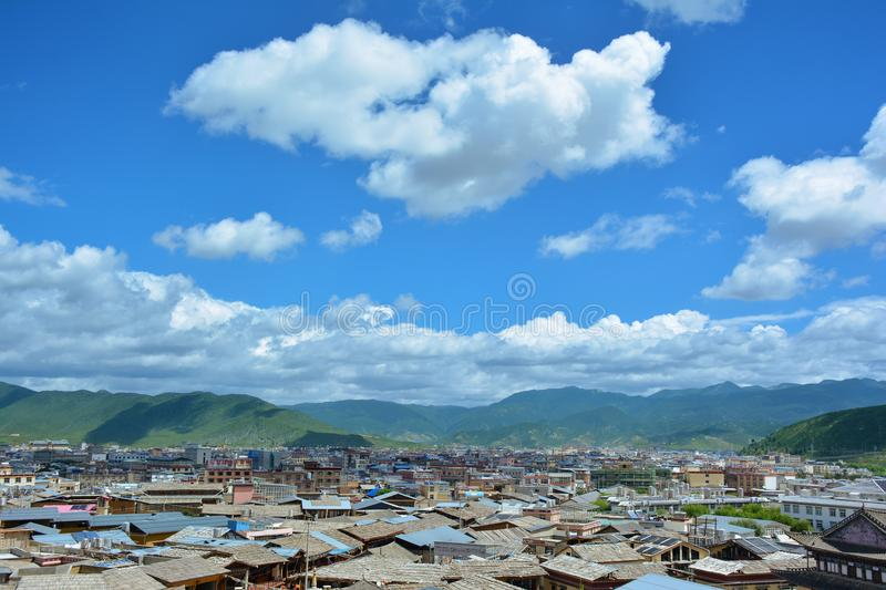 View of the Zhongdian city, also known as Shangri-La, China. View of the Zhongdian city, also known as Shangri-La. Yunnan province, China stock photo